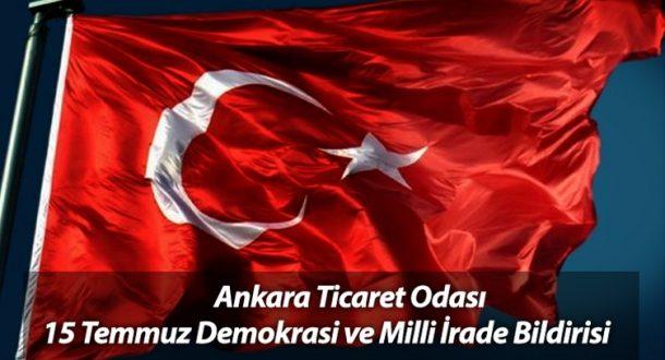 ATO'dan Demokrasi ve Milli İrade Bildirisi - 18 Temmuz 2016 09:55